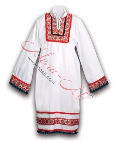 Дълга женска риза с фолклорни шевици и гайтани