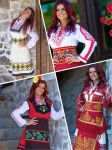 Traditional and stylized folklore ladies costumes