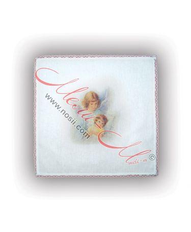 Месал-бяла памучна кърпа с лик на Ангели