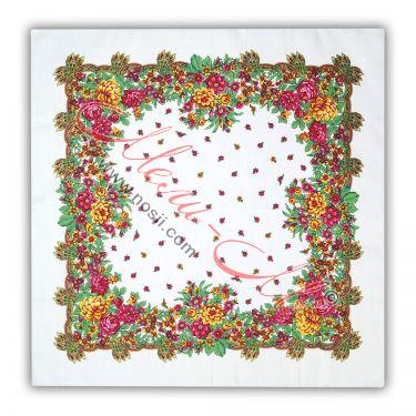 Red handkerchief with white braids