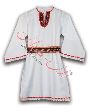 Girl's traditional long shirt with folklore decoration